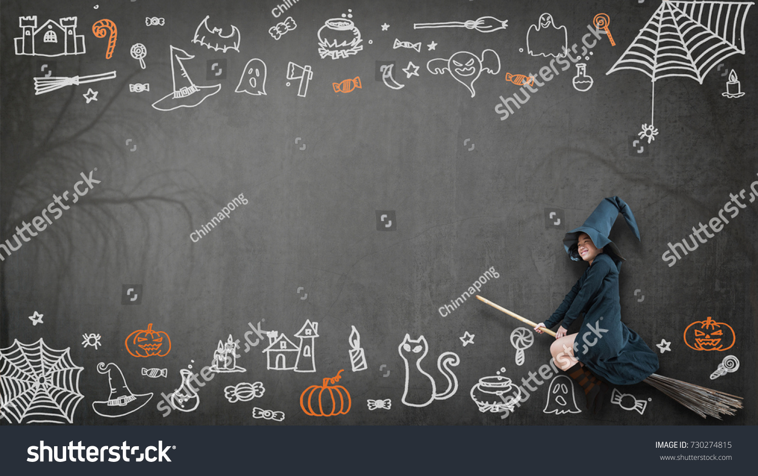 Happy Halloween Girl Kid Witch Costume Stock Illustration 730274815    Shutterstock