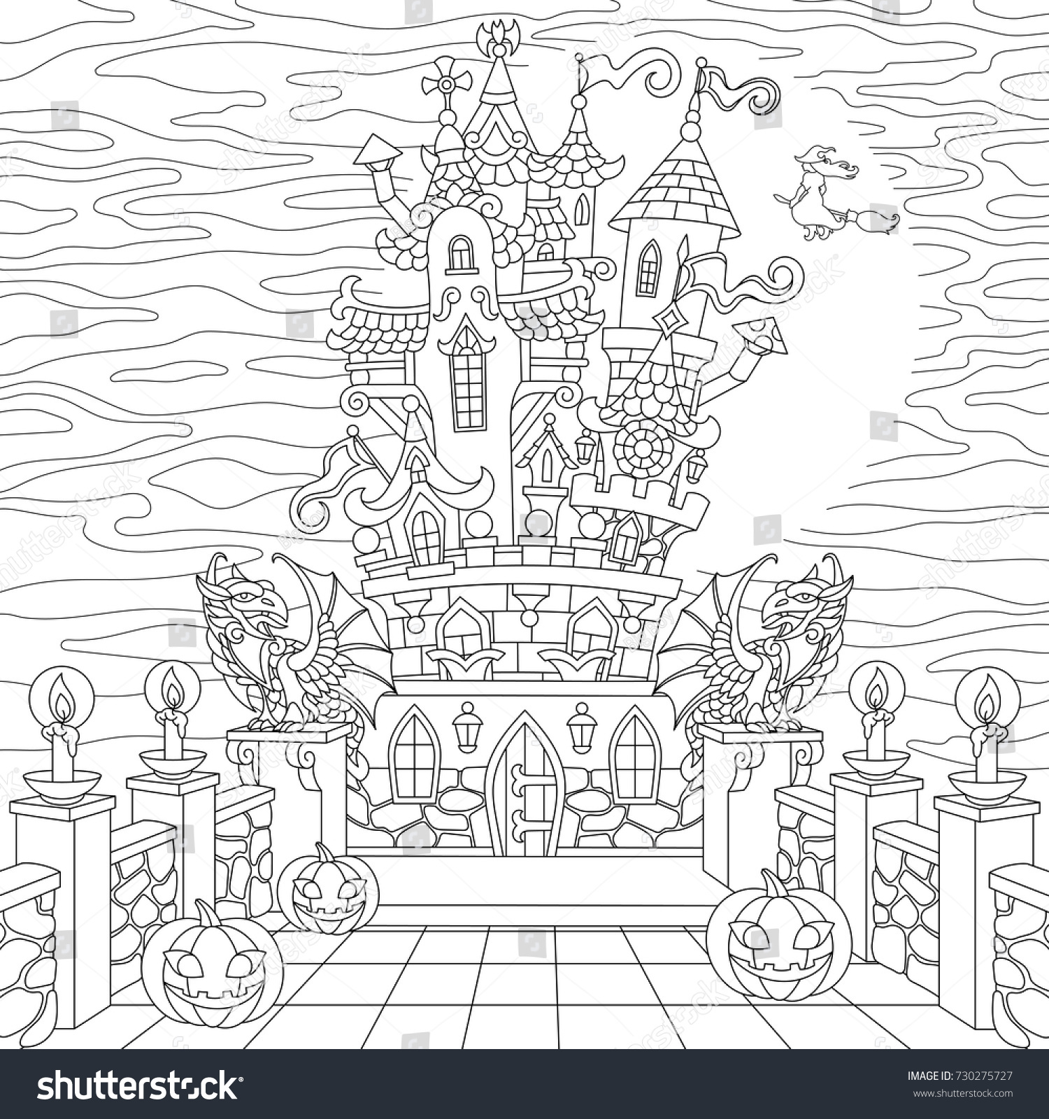 halloween coloring page spooky castle halloween pumpkins witch gothic statues of dragons - Gothic Coloring Book