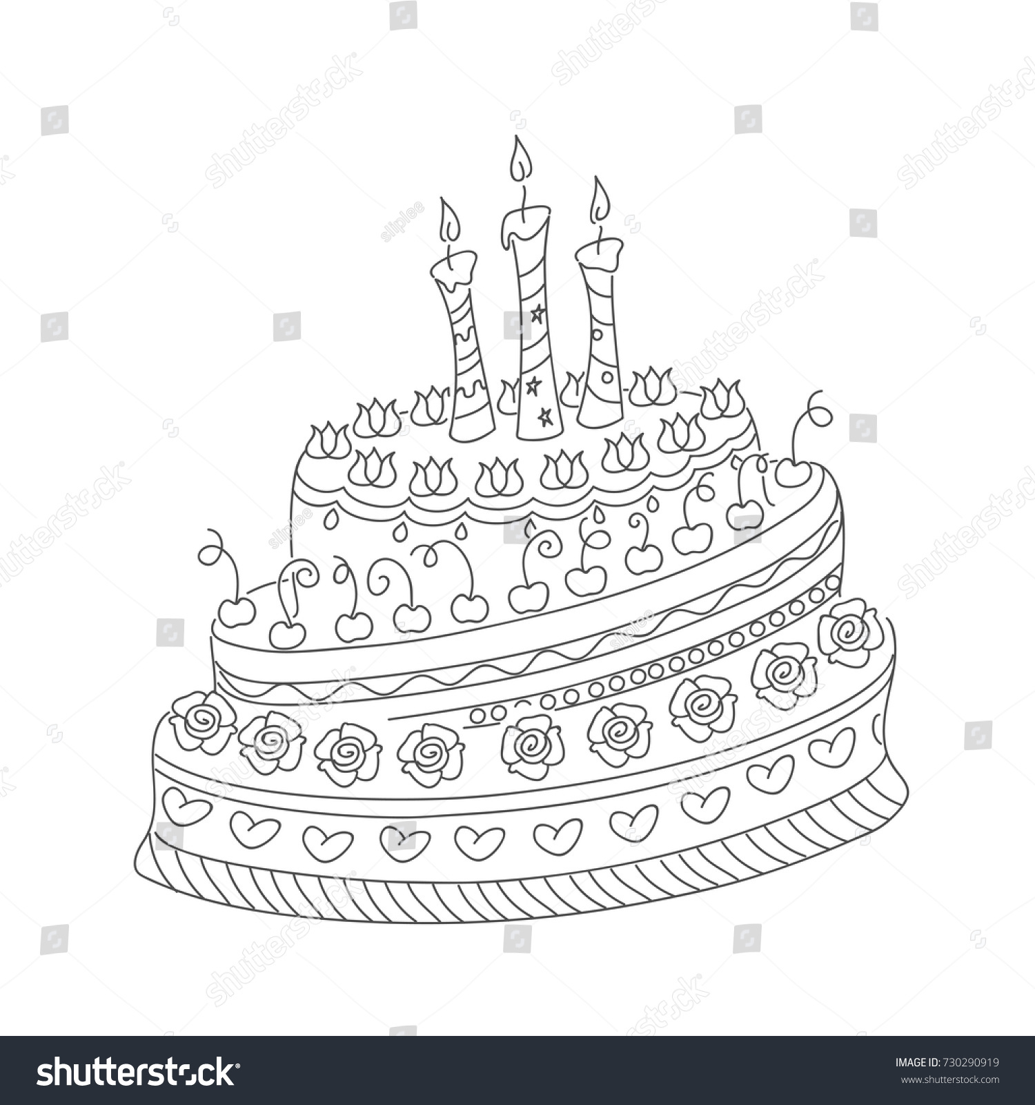 Sketch Monochrome Cake Birthday Card Children Stock Vector 730290919