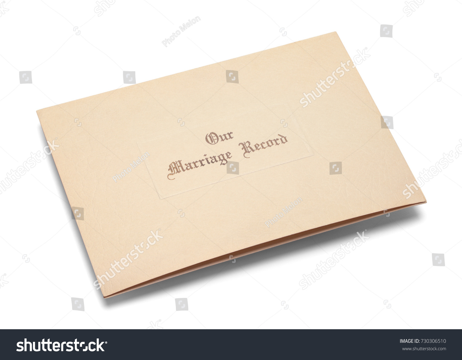 Old Marriage Certificate Folder Isolated On Stock Photo Edit Now