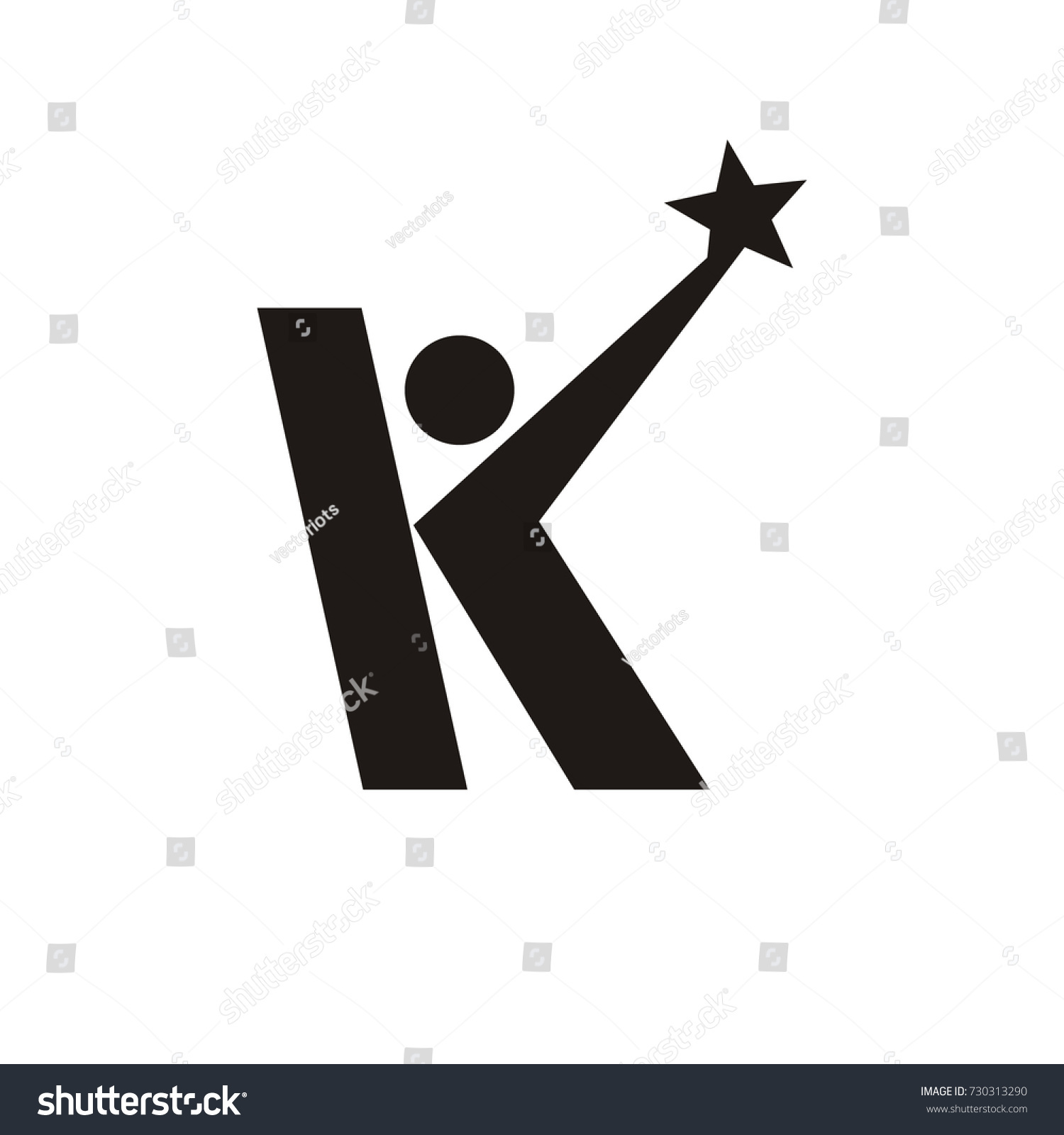 k initial letter logo stick figure stock vector royalty free