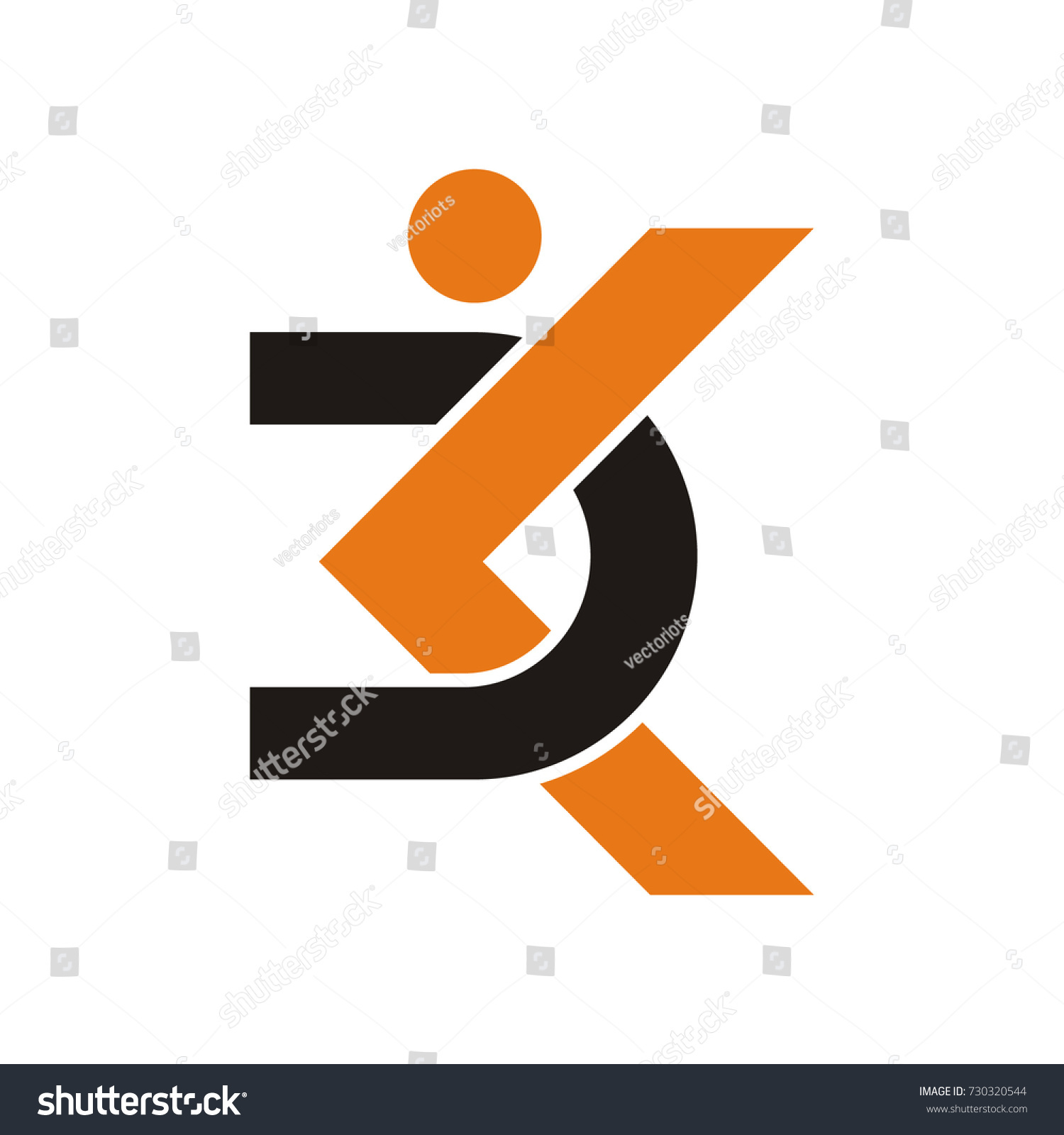 dk initial letter logo stick figure stock vector royalty free
