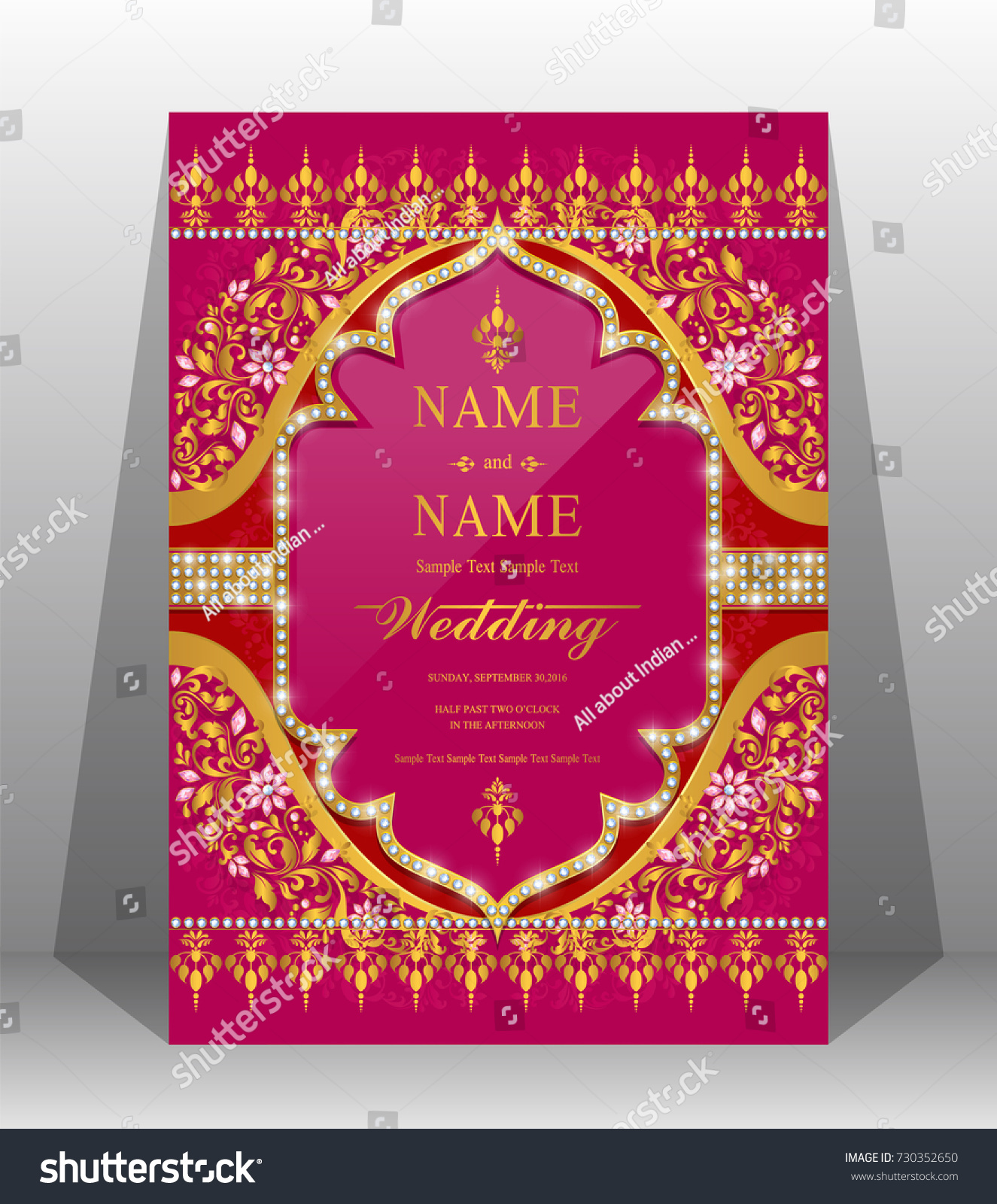 Indian Wedding Invitation Card Templates Gold Backgrounds