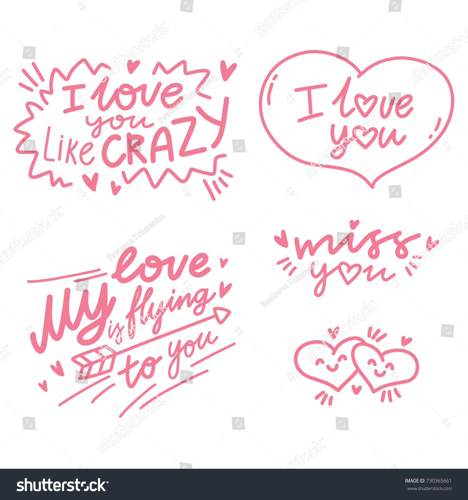 Love Lettering Calligraphy Text Illustrations Outline Stock Vector