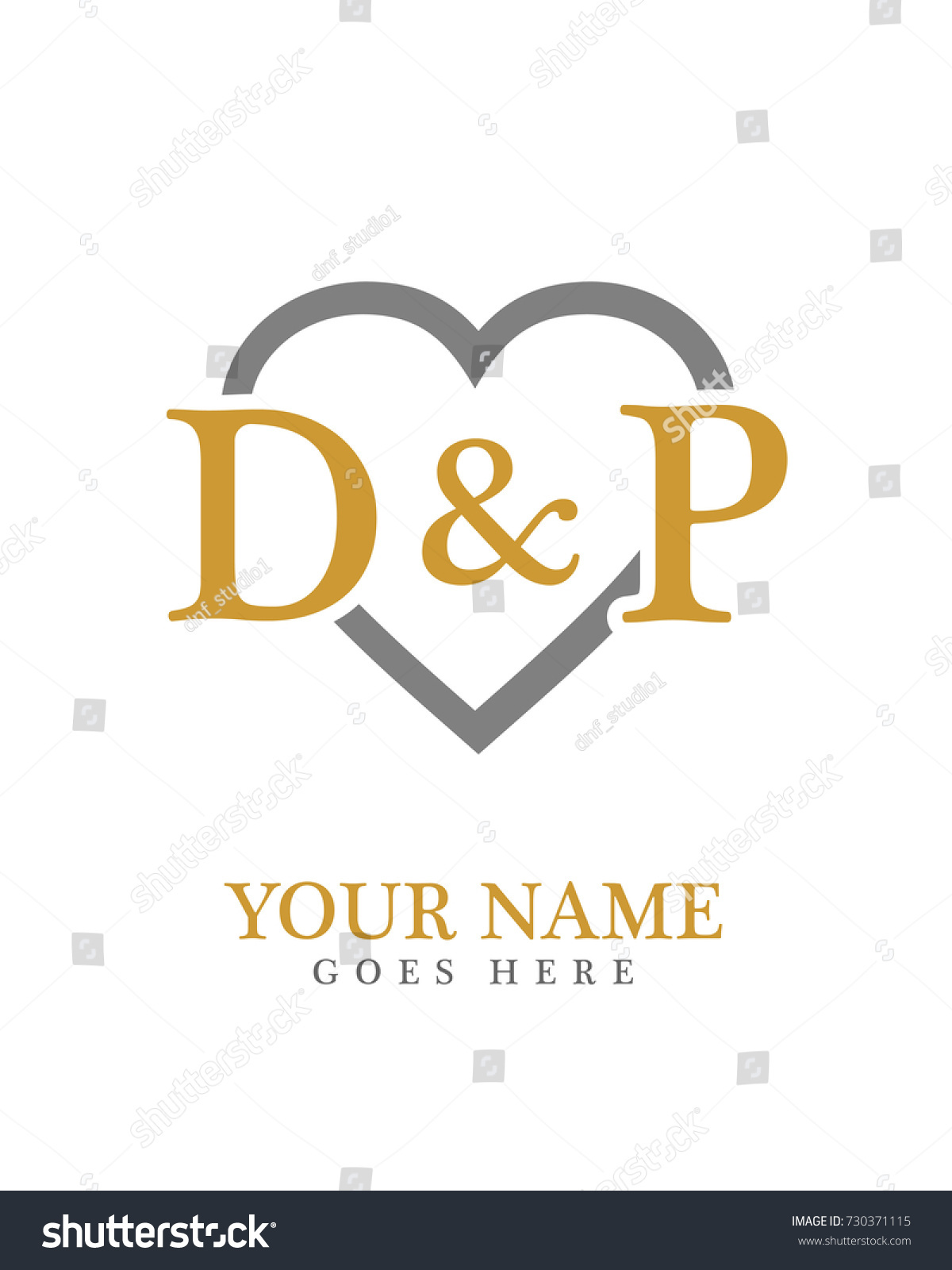 Initial D P Love Background Logo Stock Vector Royalty Free 730371115
