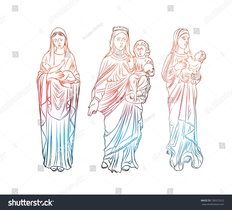Set Virgin Mary Tattoo Art Symbol Stock Illustration 730372522