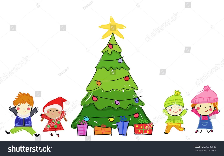 Kids Christmas Tree Stock Vector Royalty Free 730383028 Shutterstock