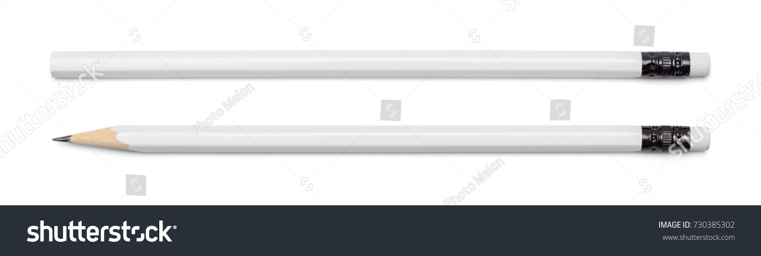 White Pencil with Copy Space Isolated on a White Background. #730385302