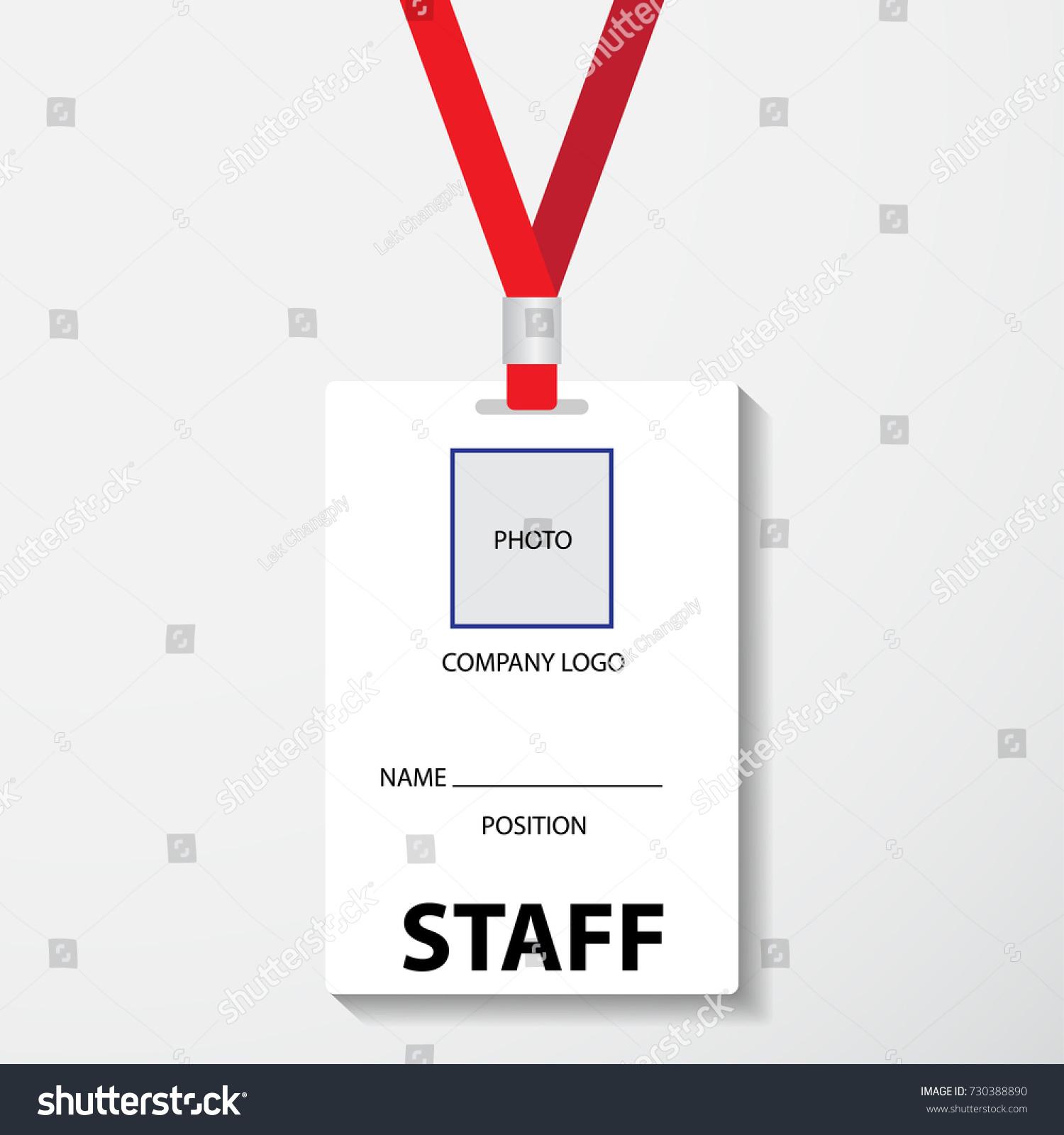 blank template staff employee identification card stock vector