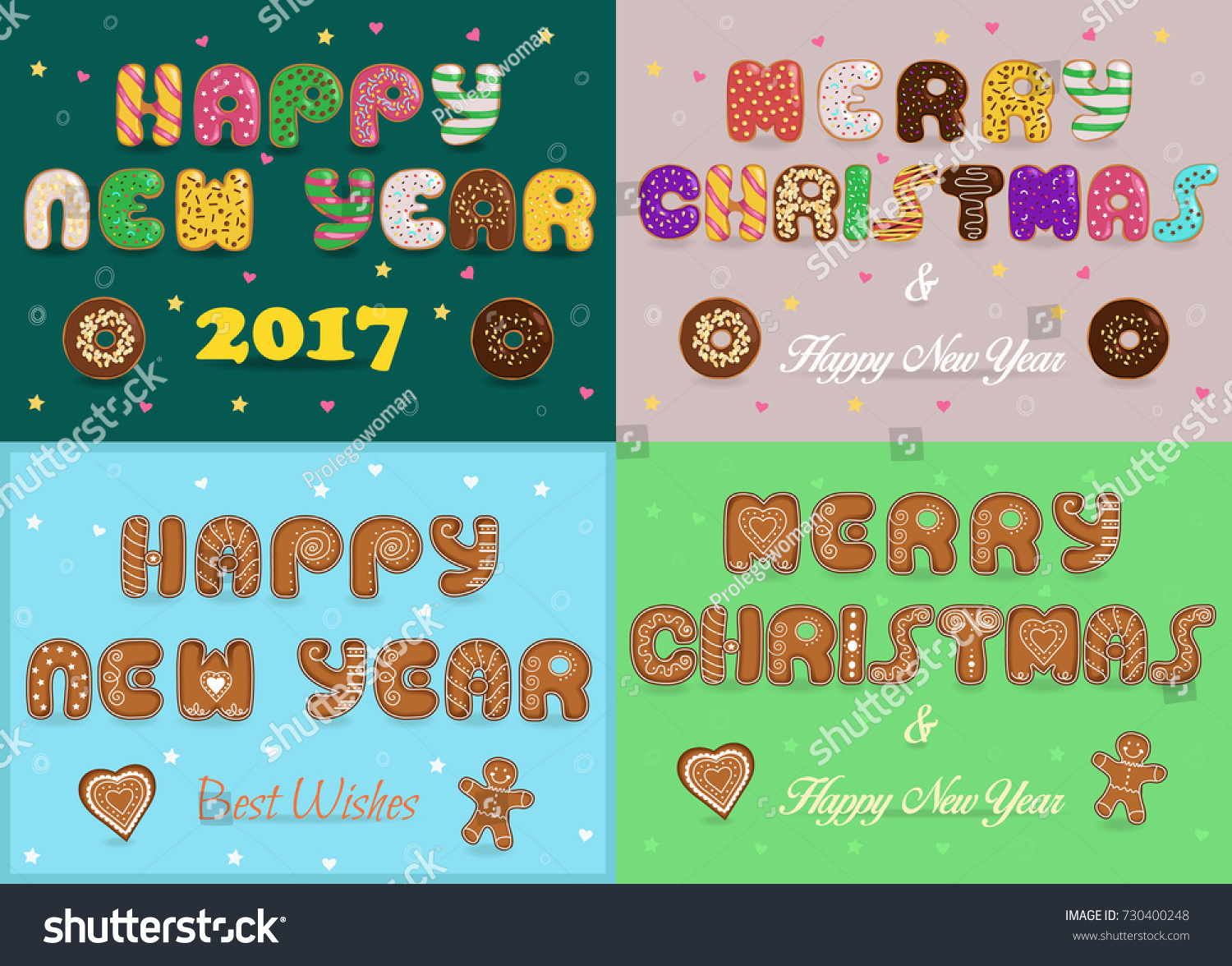Greeting Christmas New Year Cards Artistic Stock Illustration