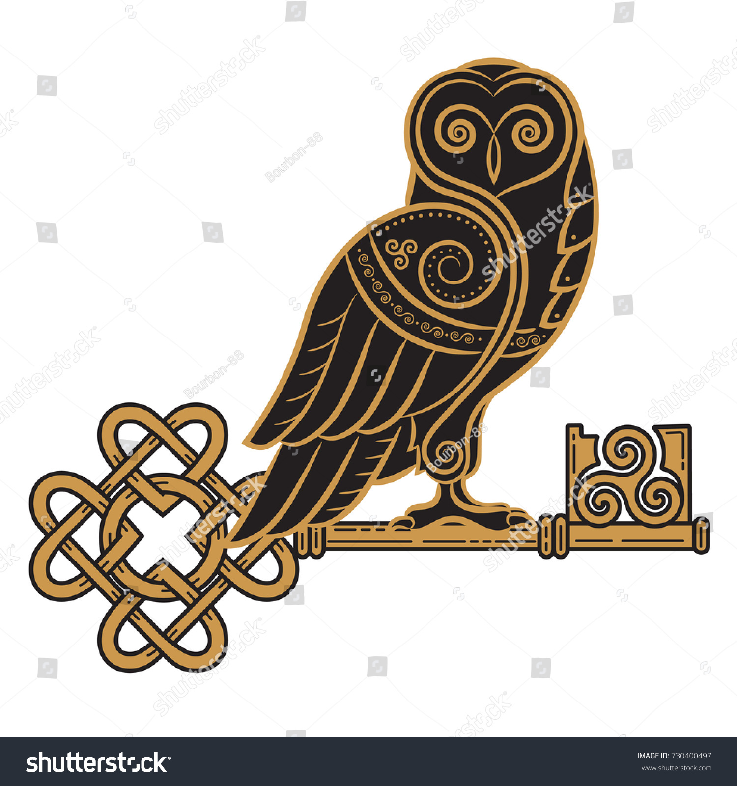 The Celtic Design Owl And Key In Style A Symbol Of Wisdom