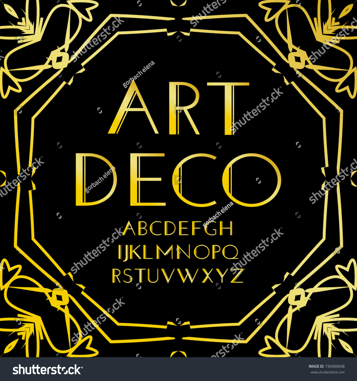 font vector art deco vintage alphabet stock vector. Black Bedroom Furniture Sets. Home Design Ideas