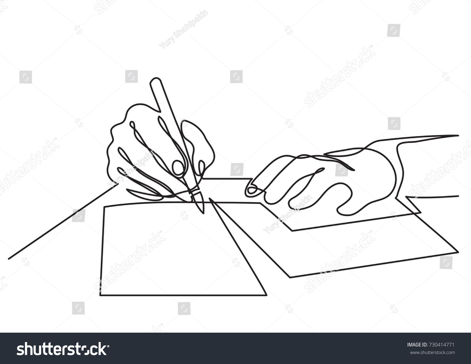 continuous line drawing hands writing letter stock vector royalty