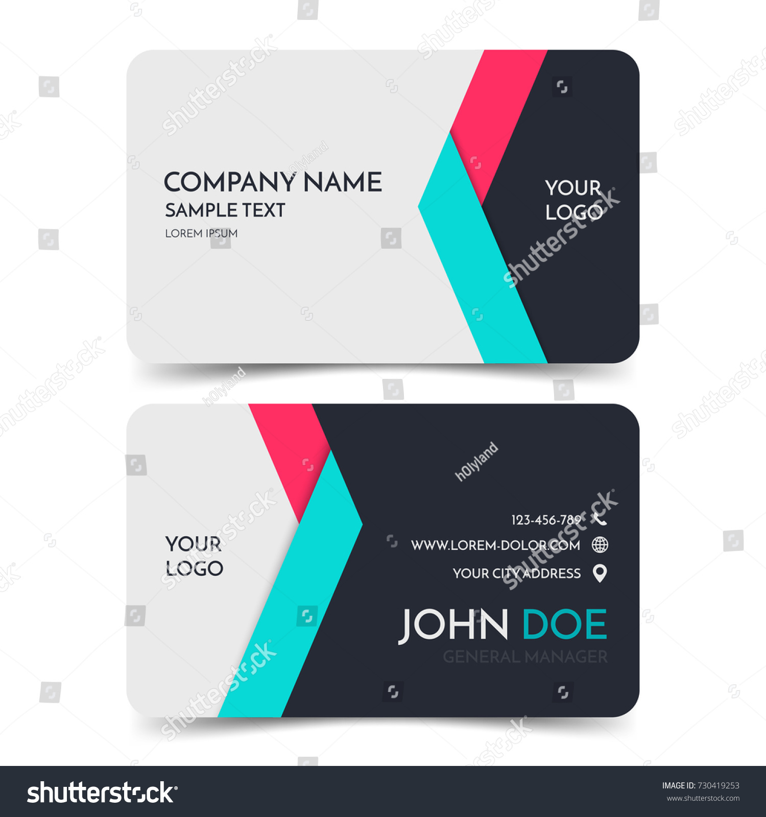 Red Blue Modern Business Card Template Stock Vector HD (Royalty Free ...
