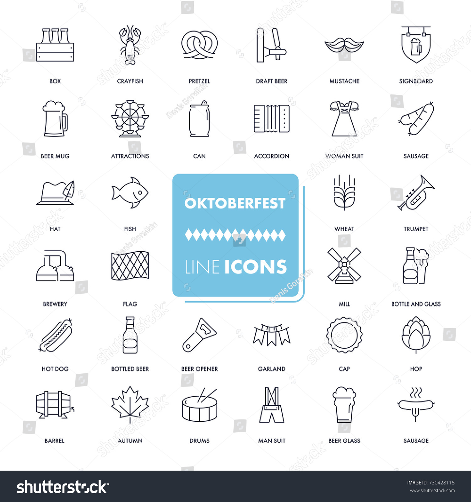 Line icons set octoberfest pack vector stock vector 730428115 vector illustration with festival elements and symbols includes beer buycottarizona Image collections