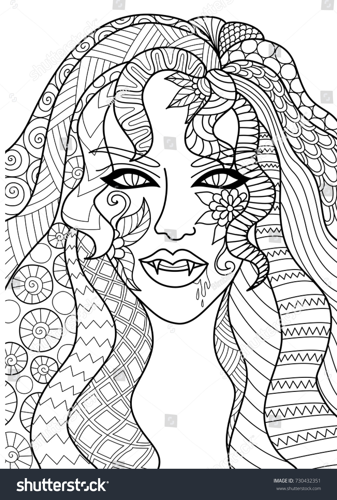 line art design witch head stock vector 730432351 shutterstock