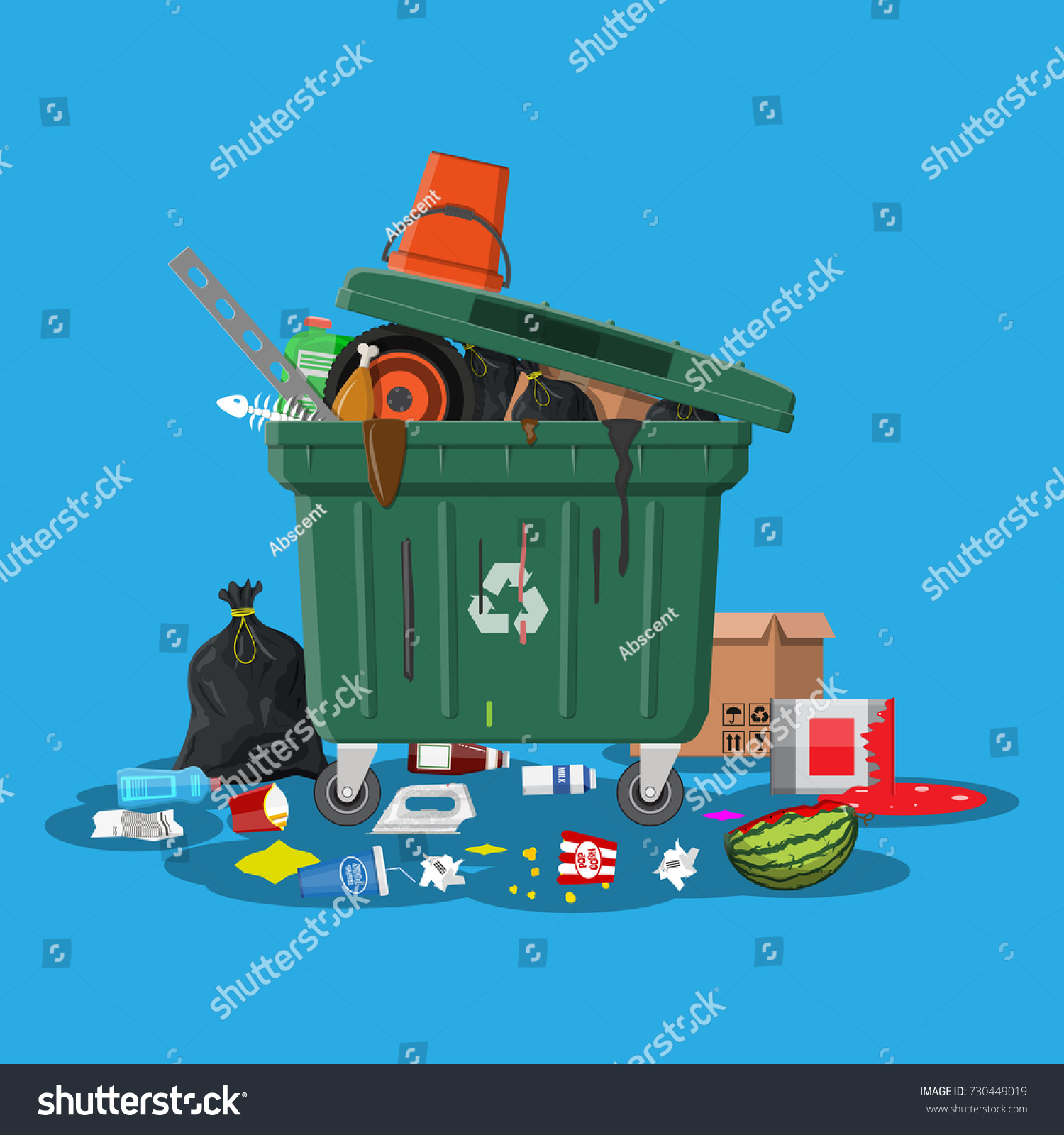 Plastic Garbage Bin Full Trash Overflowing Stockillustration ...