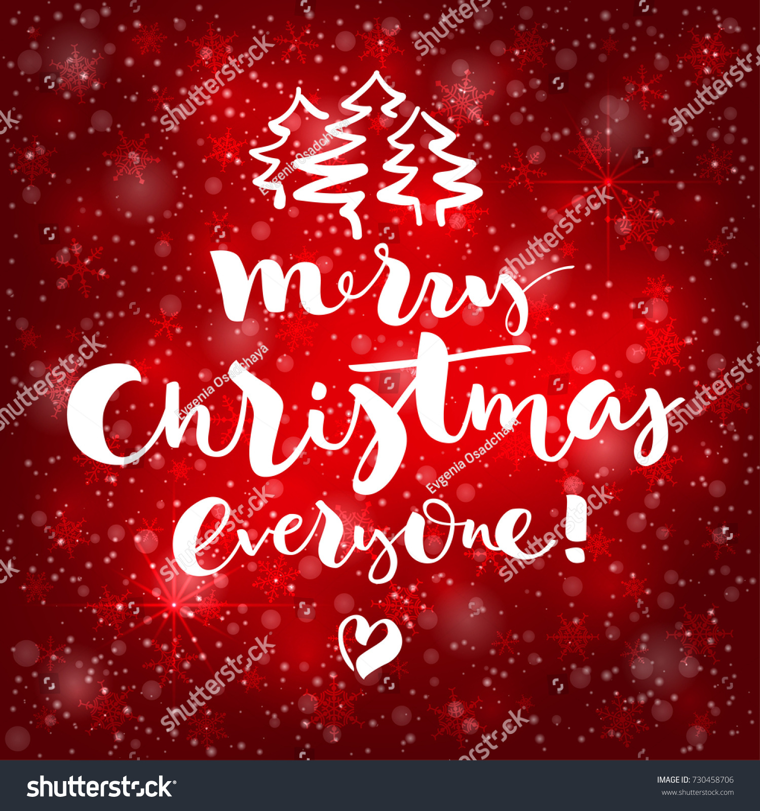 Lettering Merry Christmas Everyone On Red Stock Vector Royalty Free
