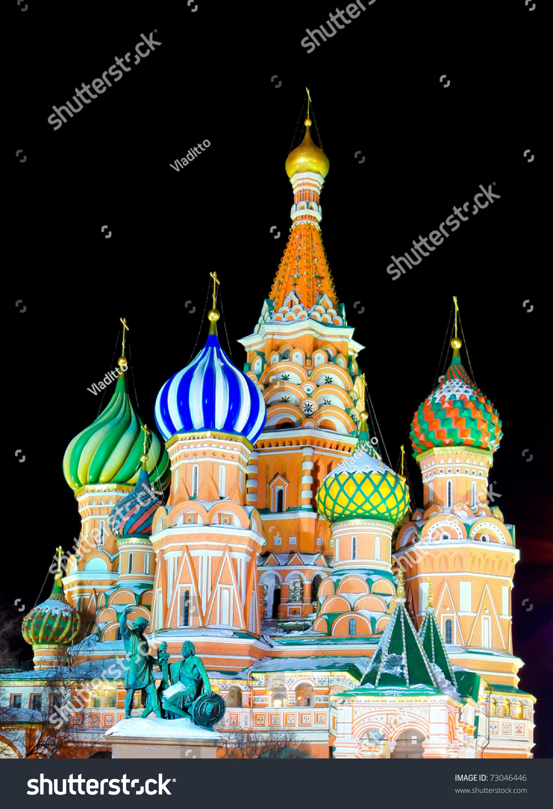 Saint Basils Cathedral Night Red Square Stock Photo 73046446 ...