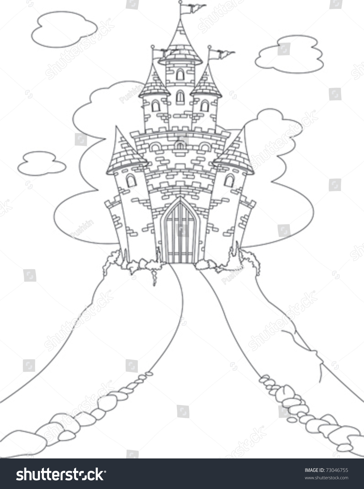 Castle with princess coloring pages