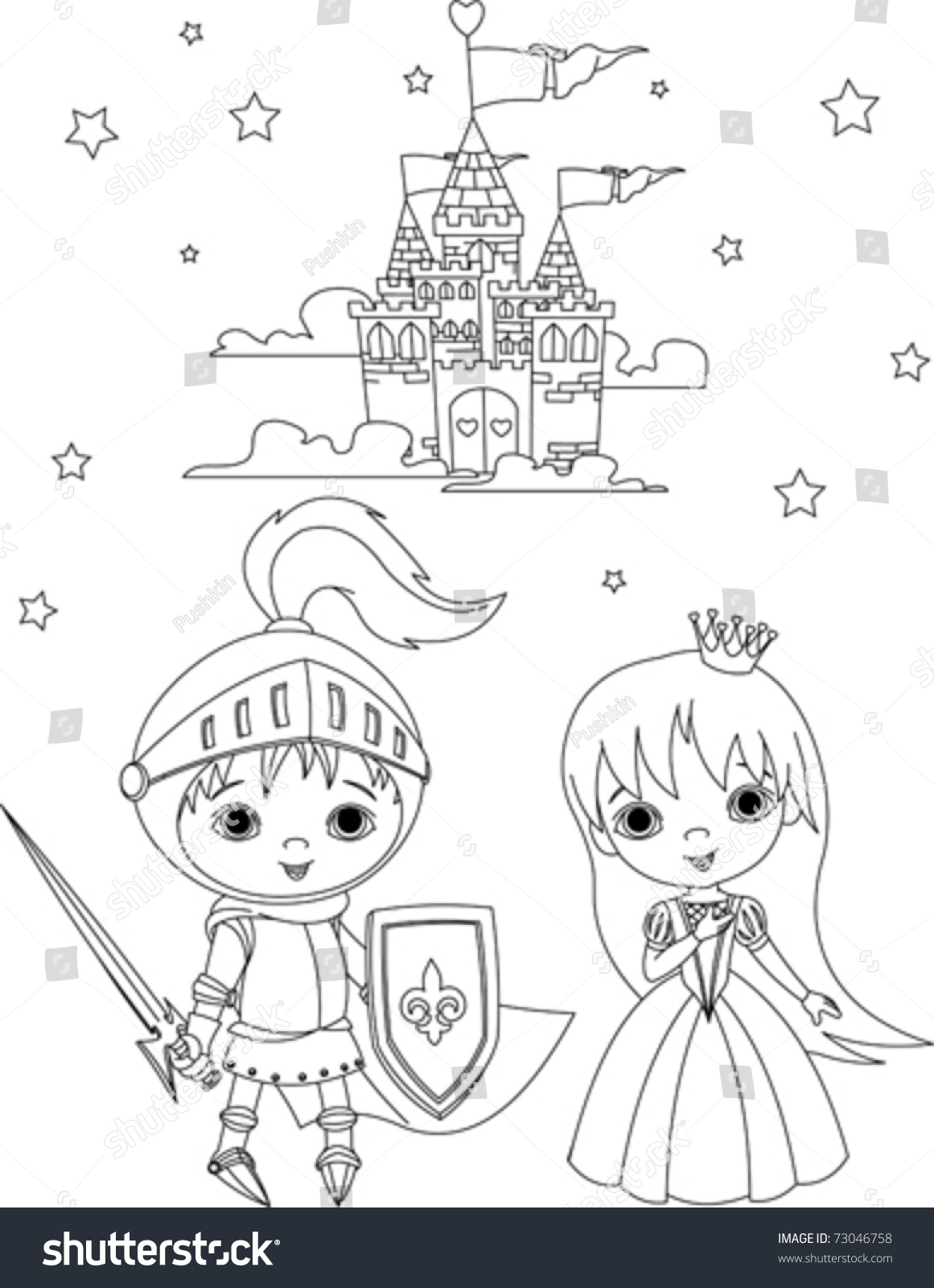 little boy knight princess coloring stock vector 73046758