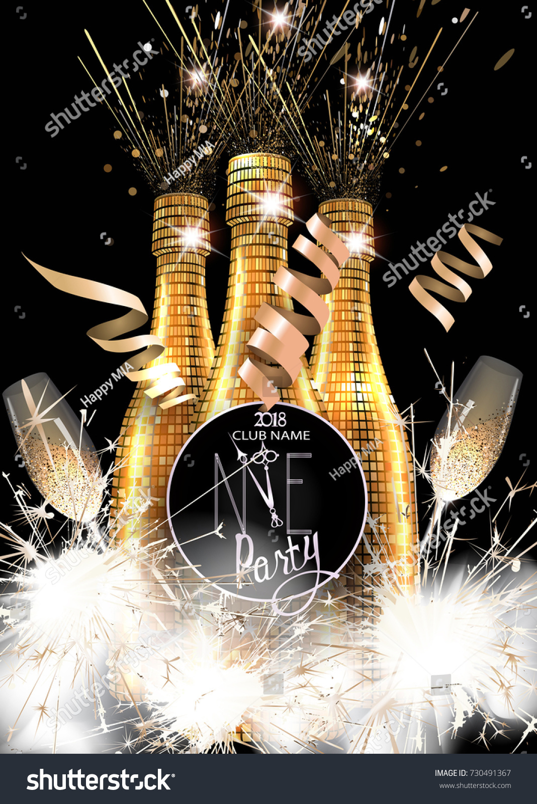 New Year Party Invitation Card Bottles Stock Vector ...