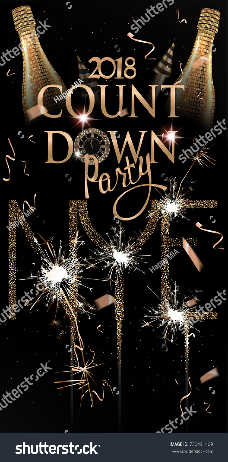 new year party invitation card with sparkling bottle of champagne fireworks and sparklers vector