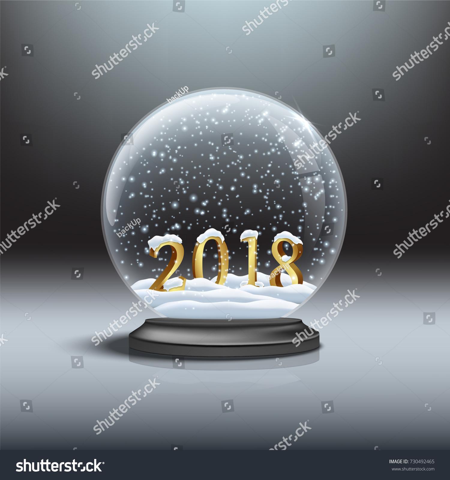Snow Globe Shiny Snow 2018 Golden Stock Vector 730492465 ...