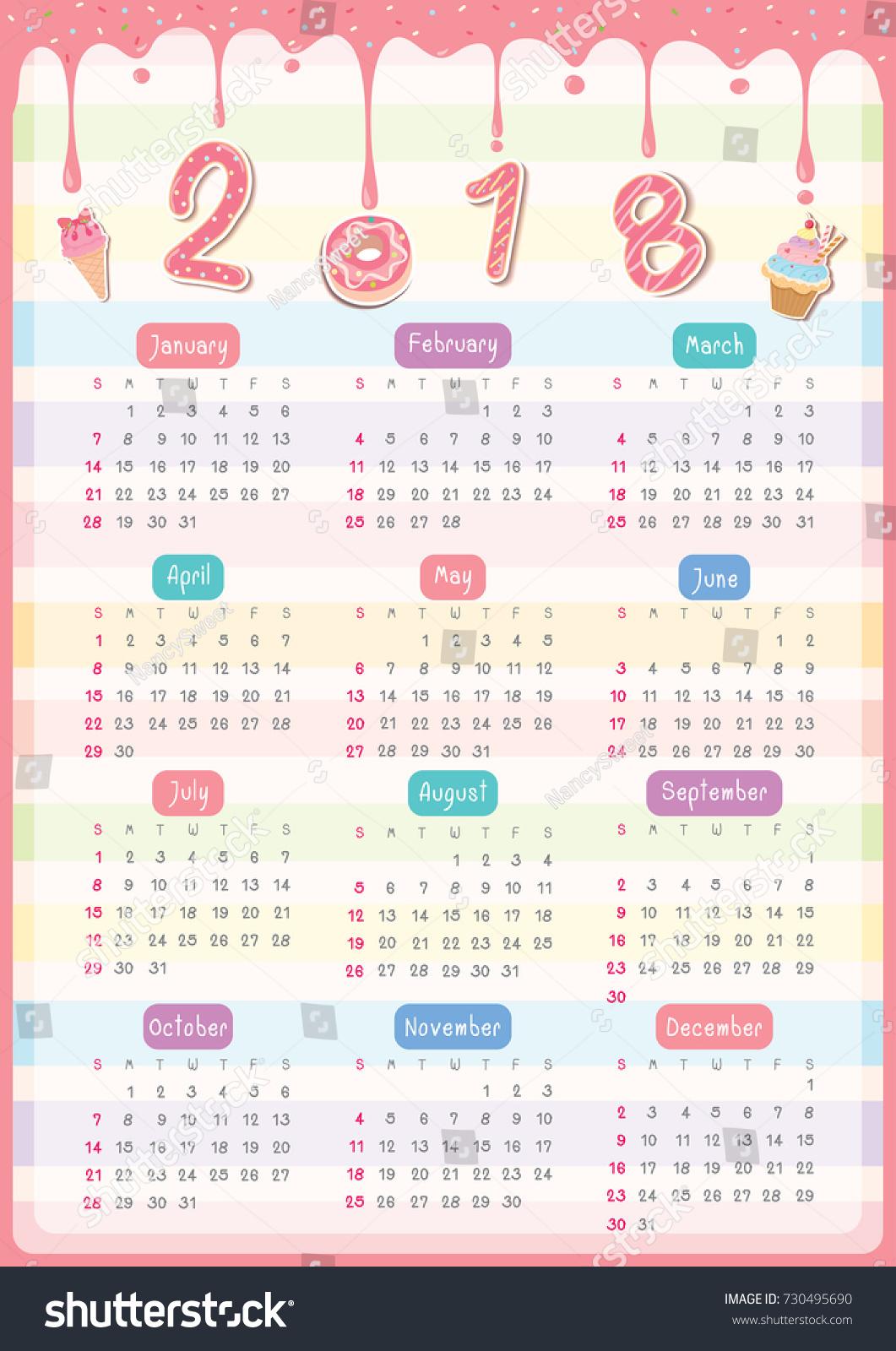 Twelve Month Calendar 2018 Year Design Stock-Vektorgrafik 730495690 ...