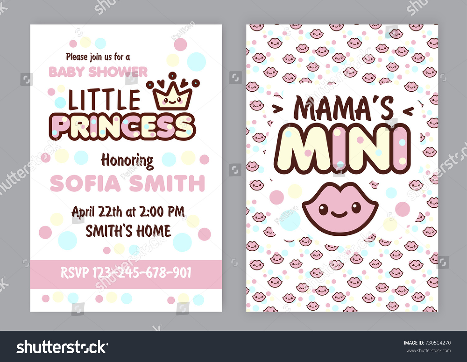 Baby Shower Party Invitation Kawaii Style Vector 730504270 – Baby Shower Party Invitations