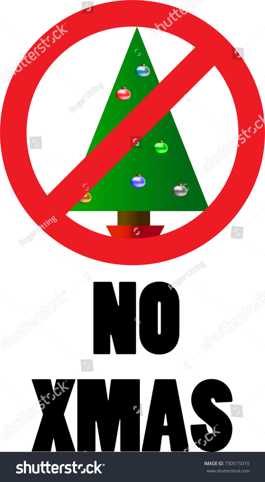 No Christmas Sign Christmas Tree No Stock Vector 730515010 ...