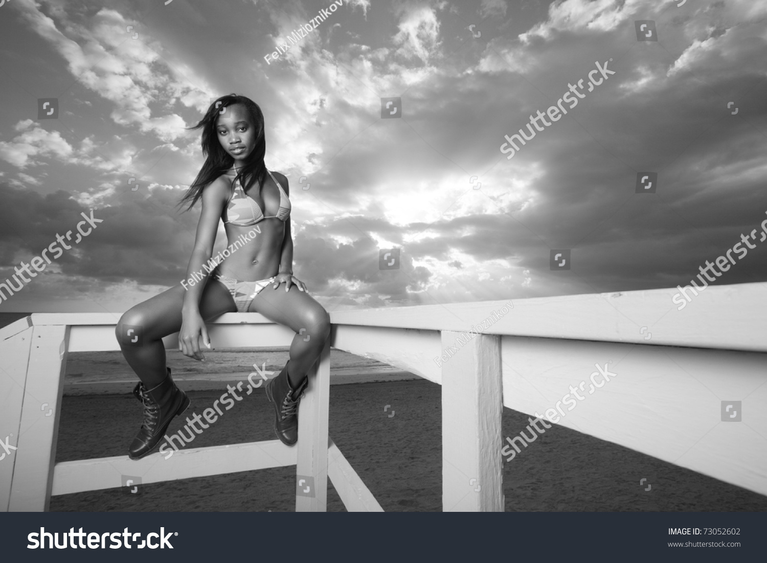 Woman Bikini Sitting On Ledge Lifeguard Stock Photo Edit Now L 730 Cute Sexy Cloudy Water Lingerie Dress In A The Of Hut
