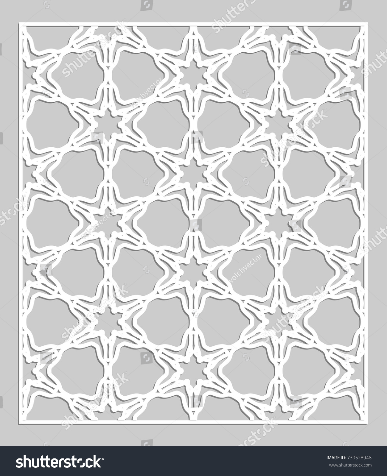 Decorative Panel Laser Cutting Geometric Ornament Stock Vector ...