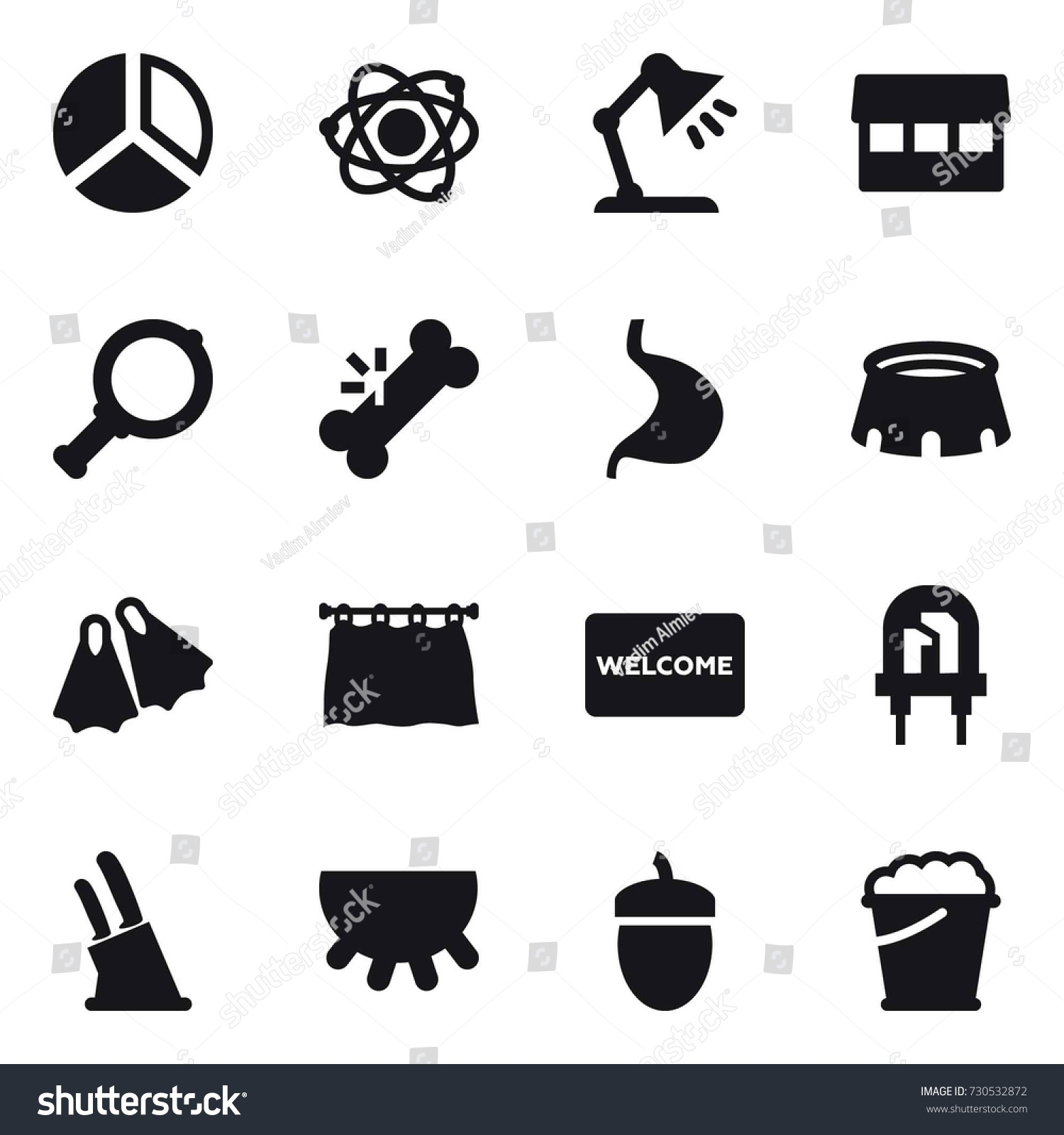16 vector icon set diagram atom stock vector 730532872 shutterstock 16 vector icon set diagram atom table lamp market magnifier ccuart Choice Image
