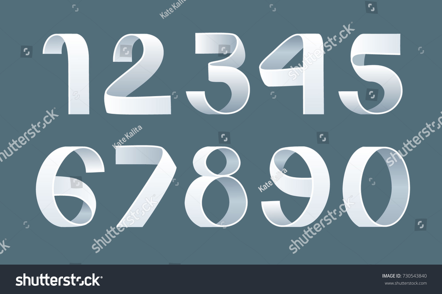 Vector Paper Folding Numbers Ribbon Script Stock Vector (Royalty
