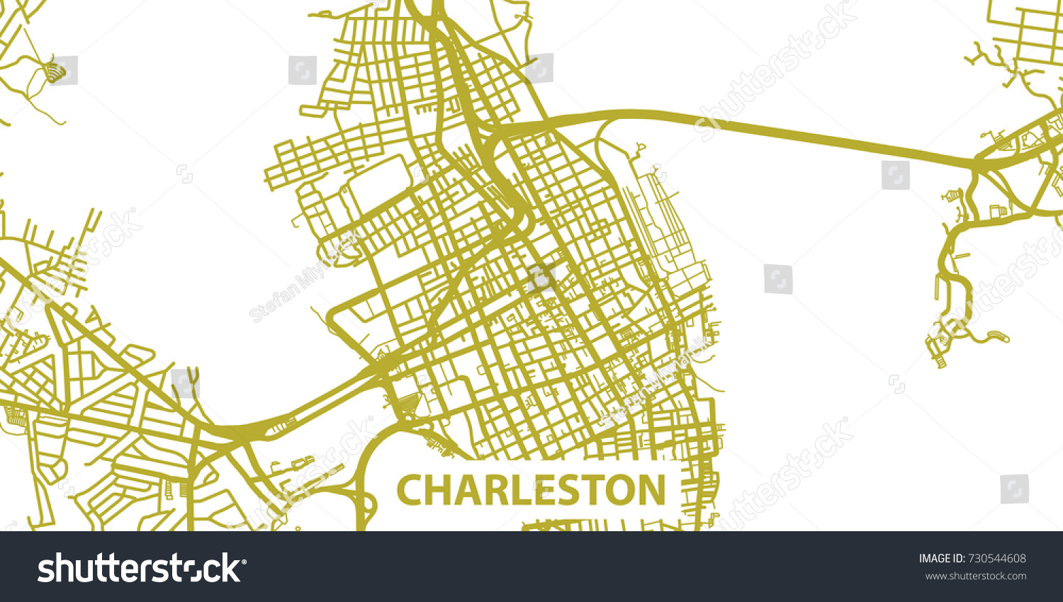Line Art Usa Map : Detailed vector map charleston gold title stock