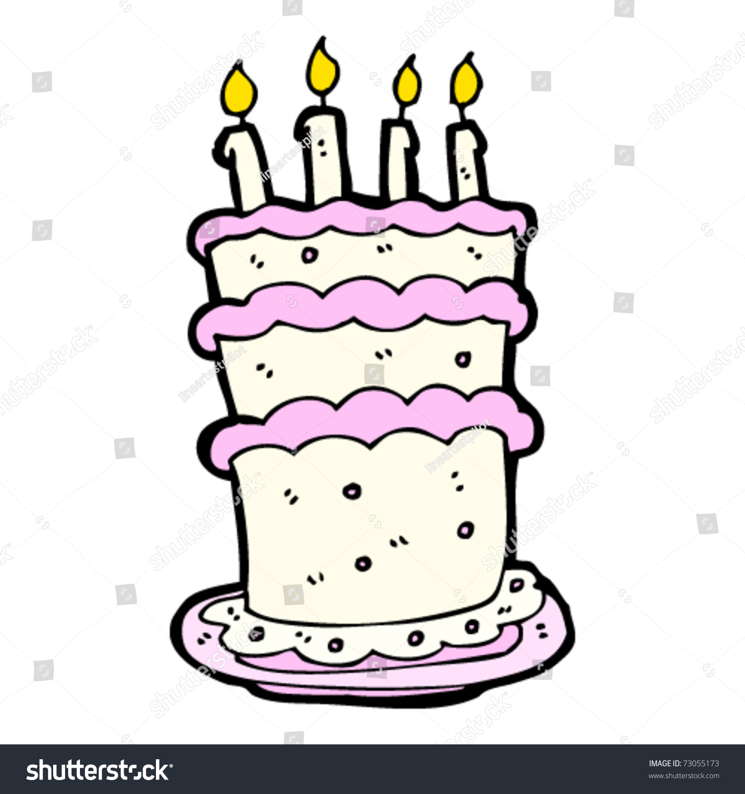 Huge Birthday Cake Cartoon Stock Vector 73055173 Shutterstock