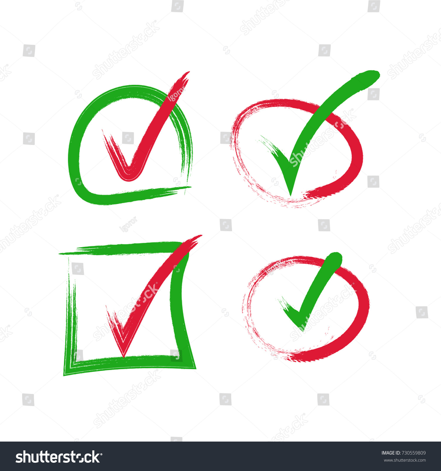 Green red check mark icon tick stock vector 730559809 shutterstock green and red check mark icon tick symbol in grunge frame biocorpaavc Image collections