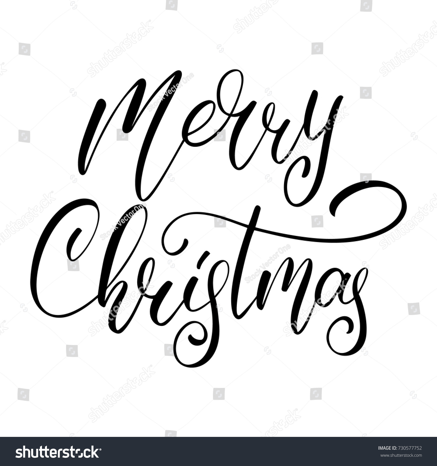 Merry Christmas Vector Calligraphic Lettering Design Stock