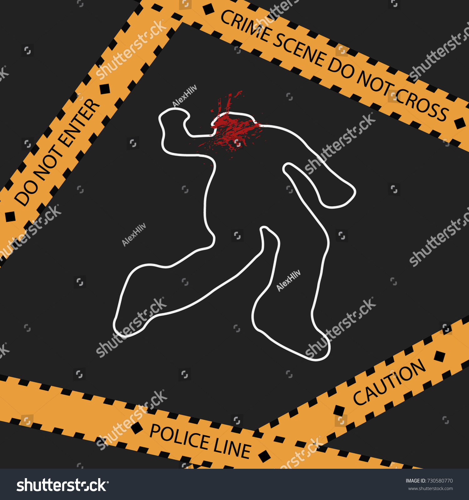 dead man silhouette head shot crime scene do not cross police line