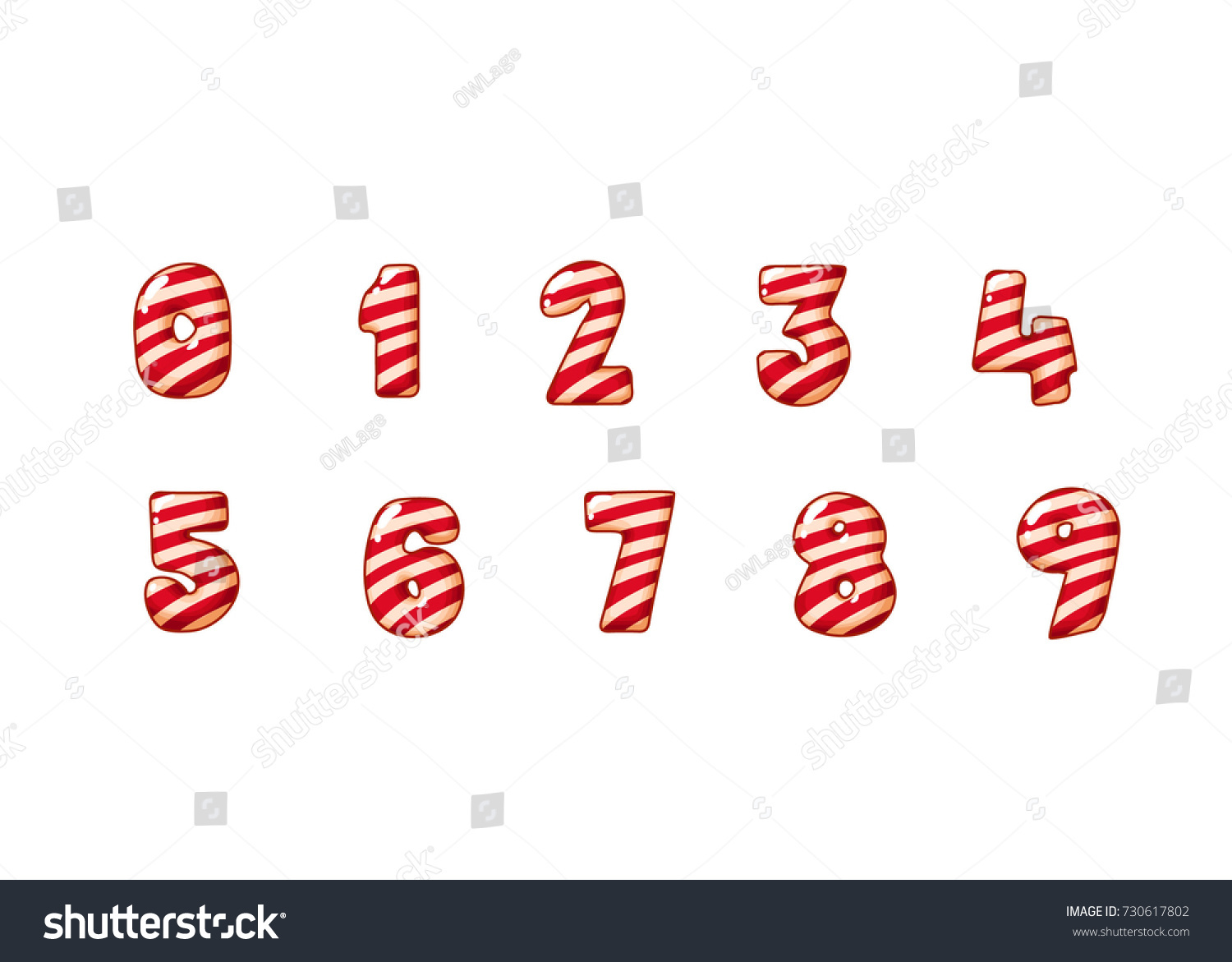 merry christmas candy cane font 123 stock vector 730617802