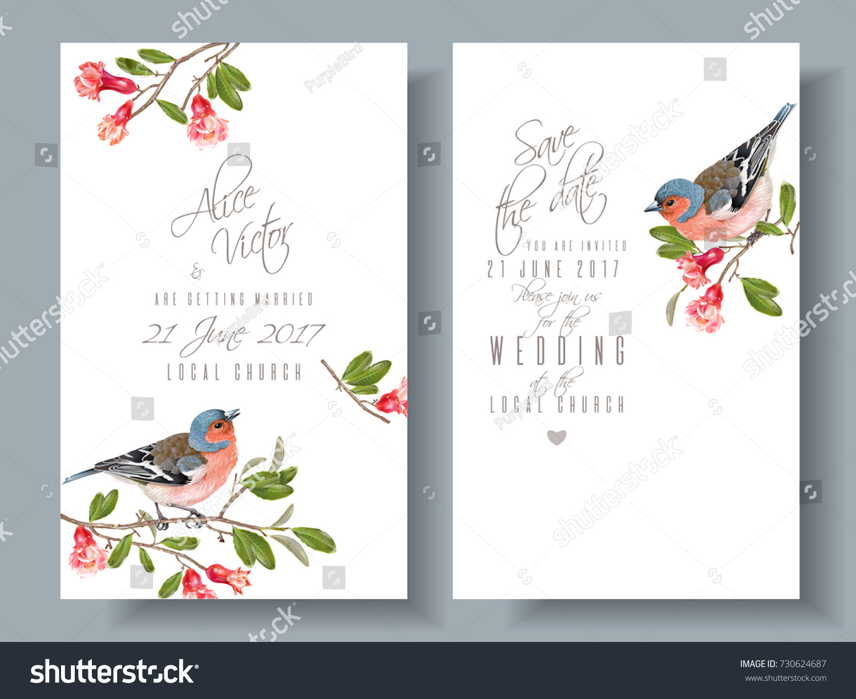 Vector Wedding Vertical Cards Bird On Stock Vector (Royalty Free ...