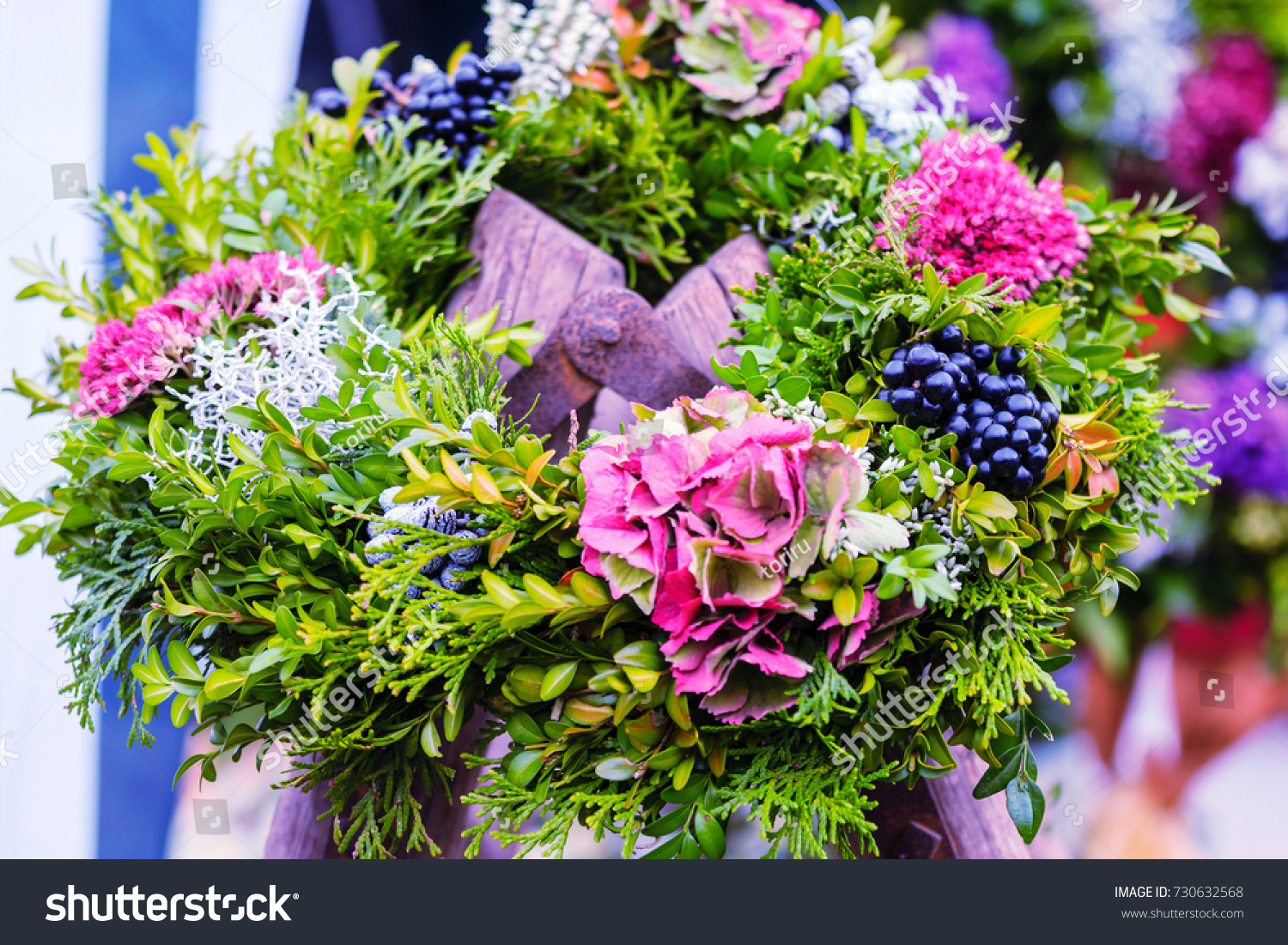 Beautiful Autumn Flowers Wreath Berry Stock Photo Edit Now