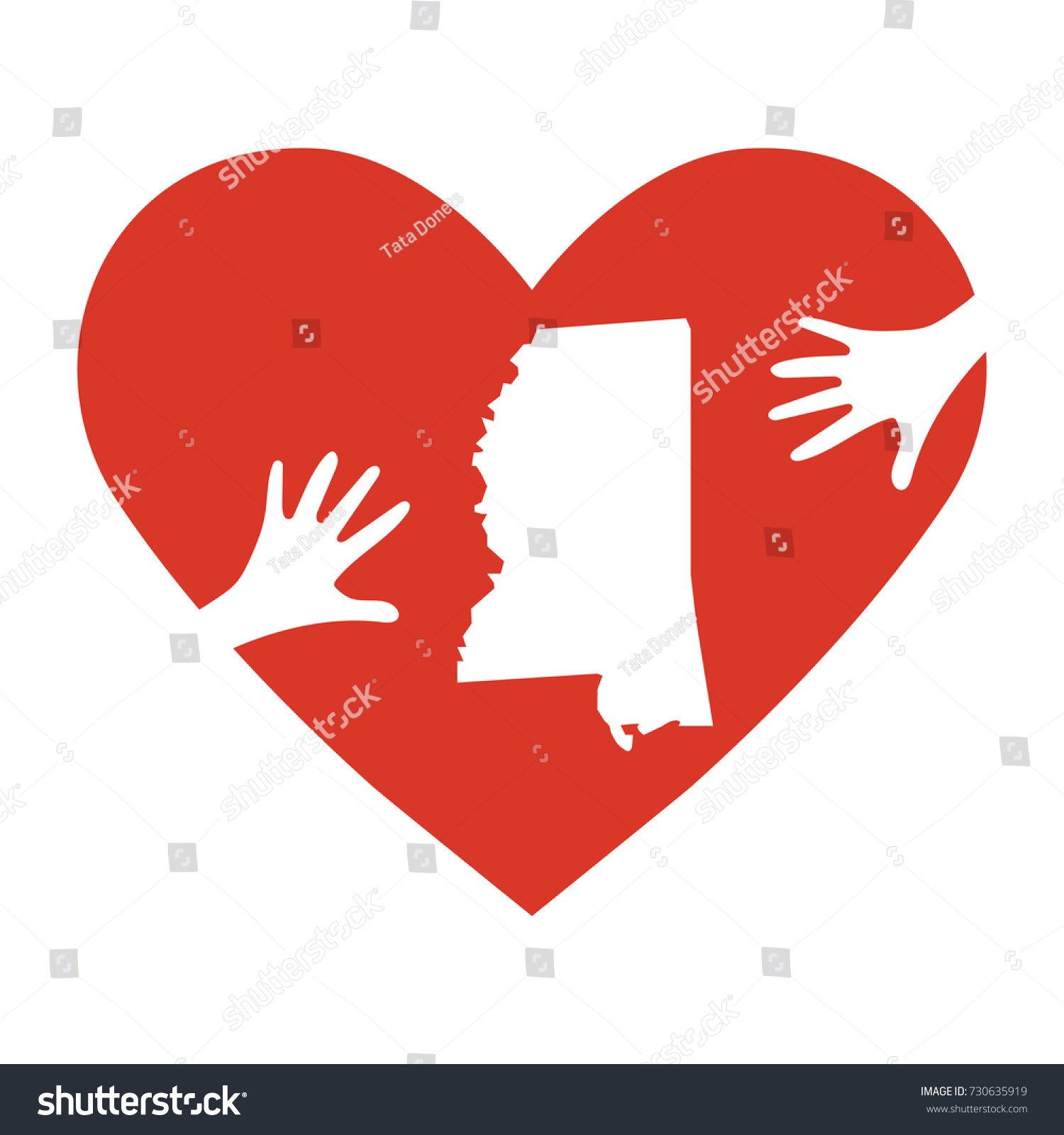 Vector illustration helping hands heart mississippi stock vector vector illustration helping hands heart mississippi map support for volunteer charity buycottarizona Gallery