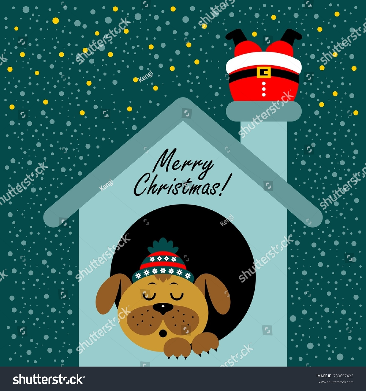 Christmas Card Cartoon Dog Booth New Stock Vector (Royalty Free ...