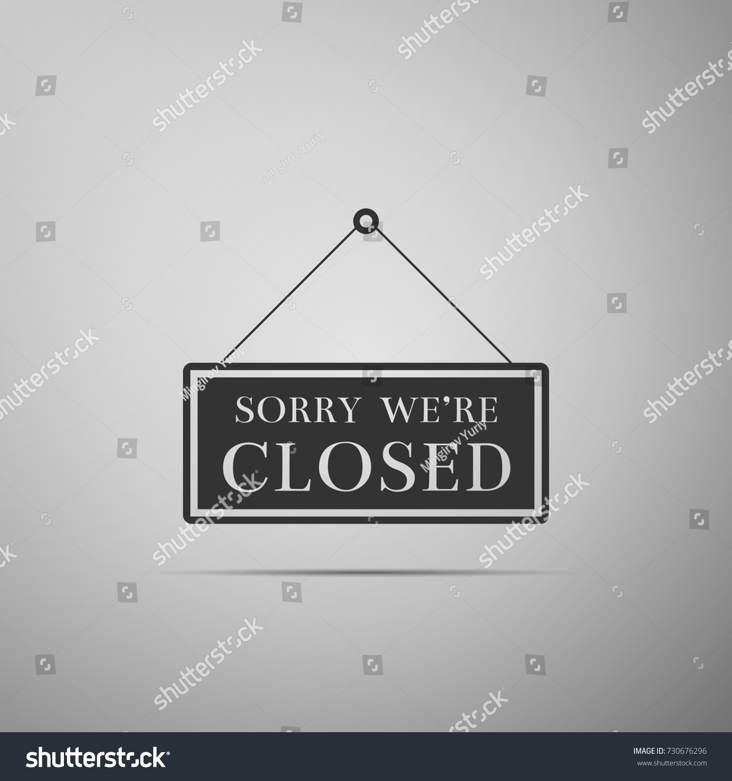 Hanging Sign Text Sorry Were Closed Stock Vector 730676296