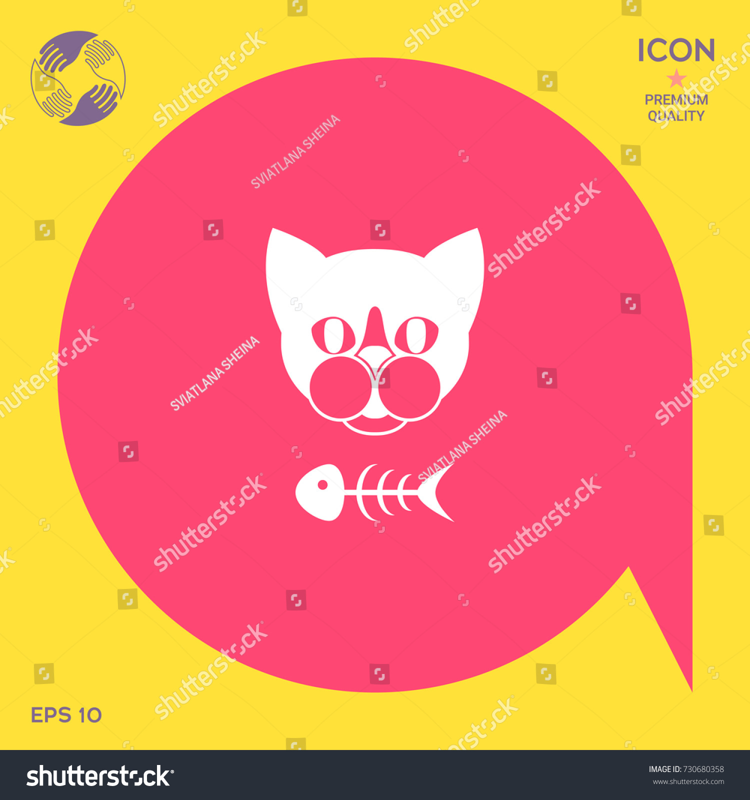 Cat fish skeleton icon logo symbol stock vector 730680358 shutterstock cat with fish skeleton icon logo symbol protect sign meals for buycottarizona Images