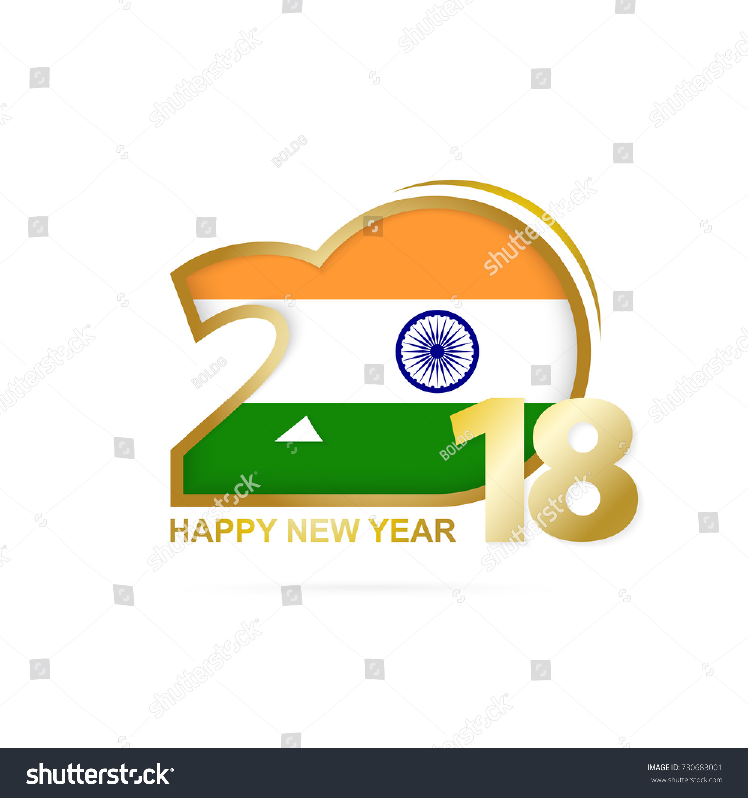 year 2018 with india flag pattern happy new year design vector illustration