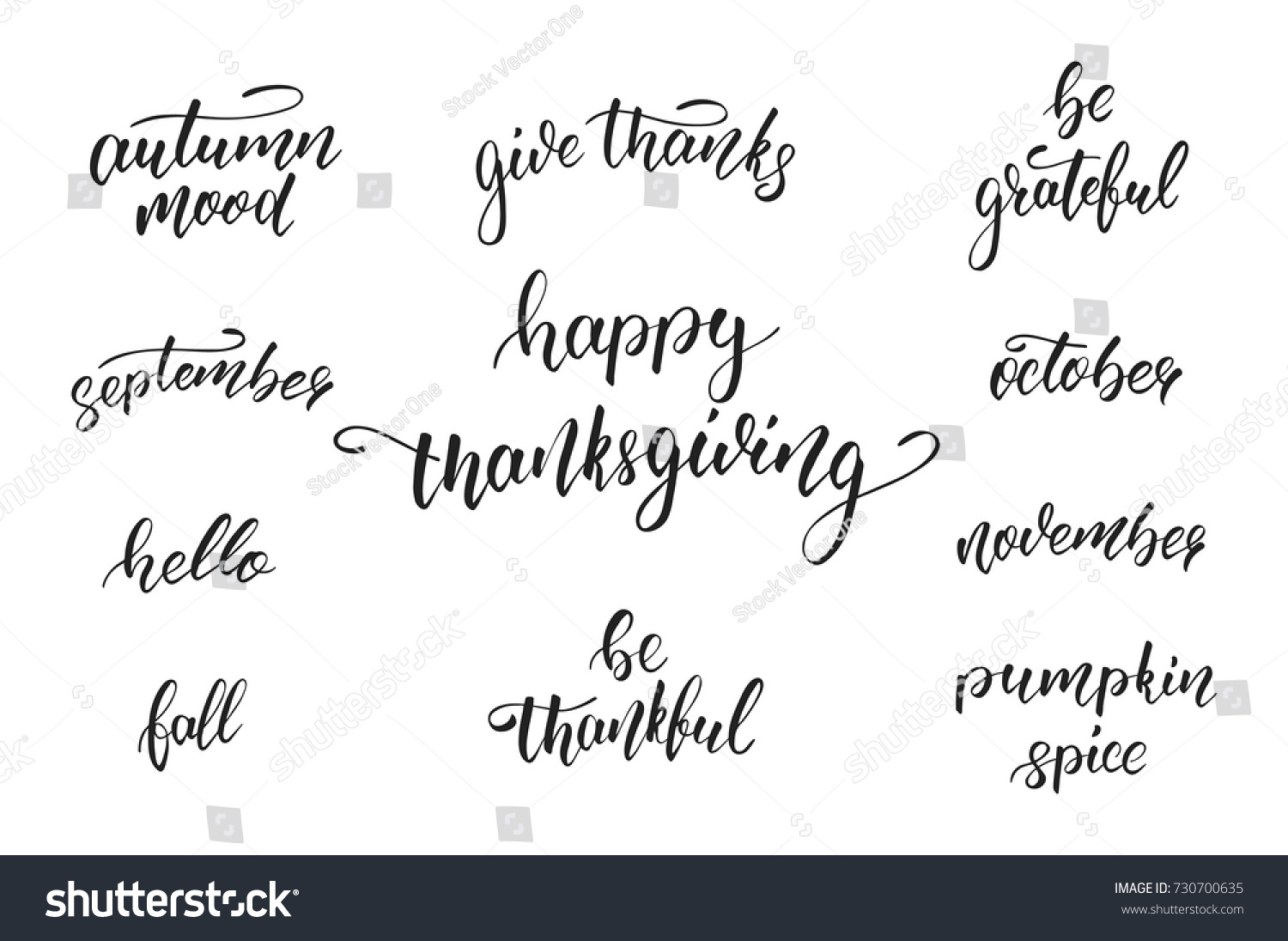 Quotes Calligraphy Thanksgiving Day Calligraphy Quotes Thanksgiving Day Stock Vector