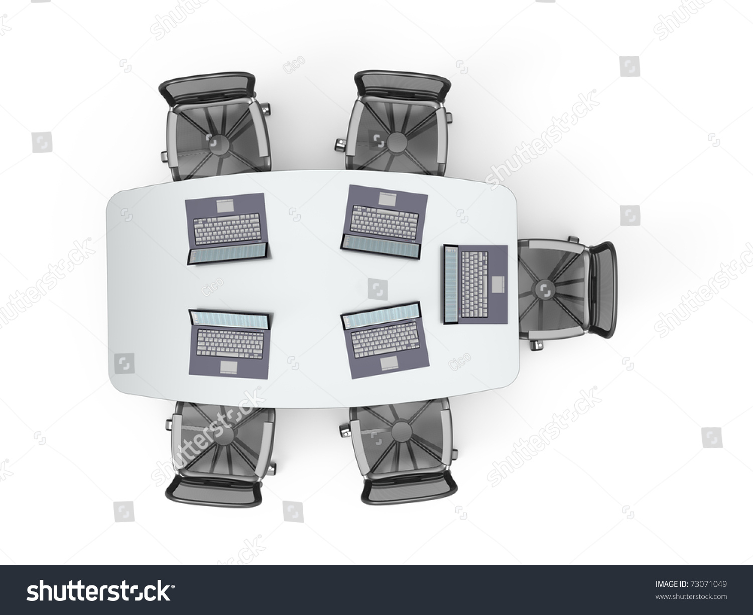 Conference Table With Opened Laptops Top View On White Background